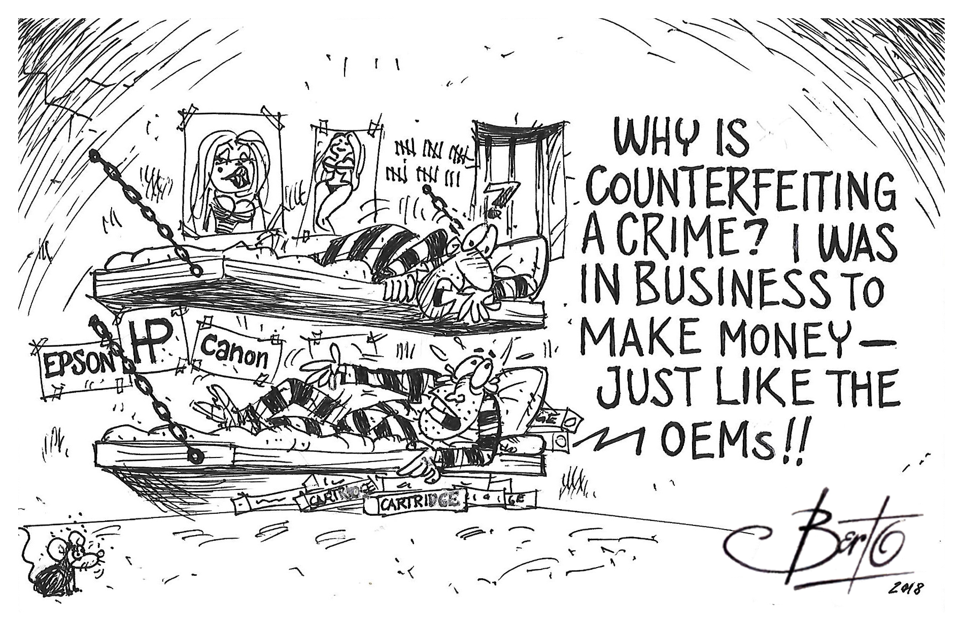 Zero Tolerance for Counterfeiters Berto cartoon rtmworld