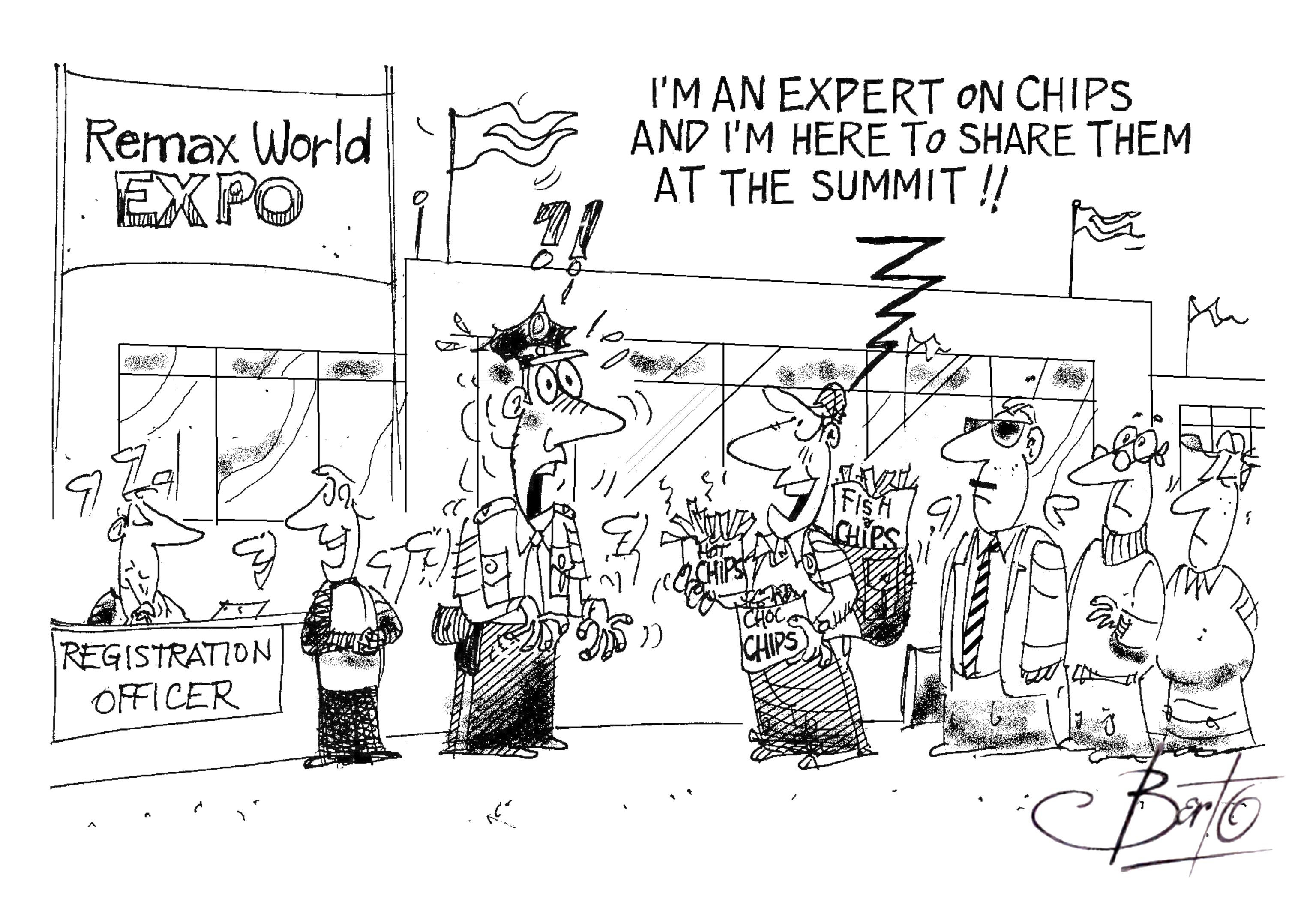 Experts Chip In at RemaxWorld Summit Berto cartoon rtmworld