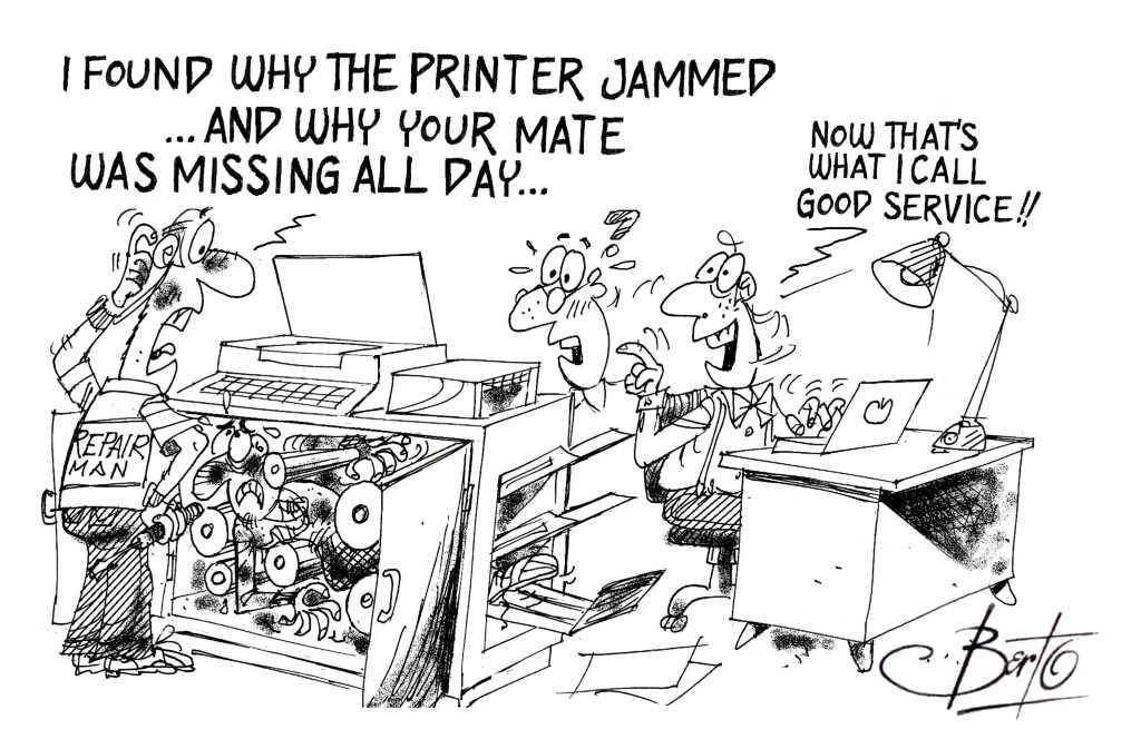 Jammed Printer Service Calls Berto cartoon rtmworld