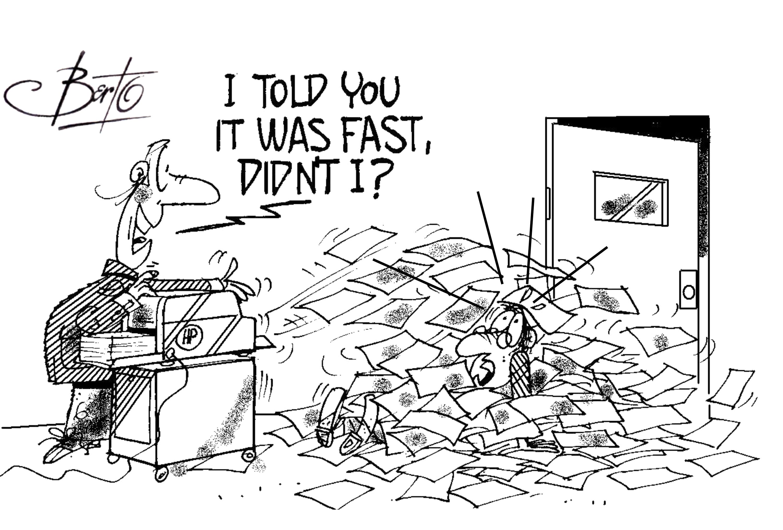 OEMs Deliver Faster Printers Berto cartoon rtmworld